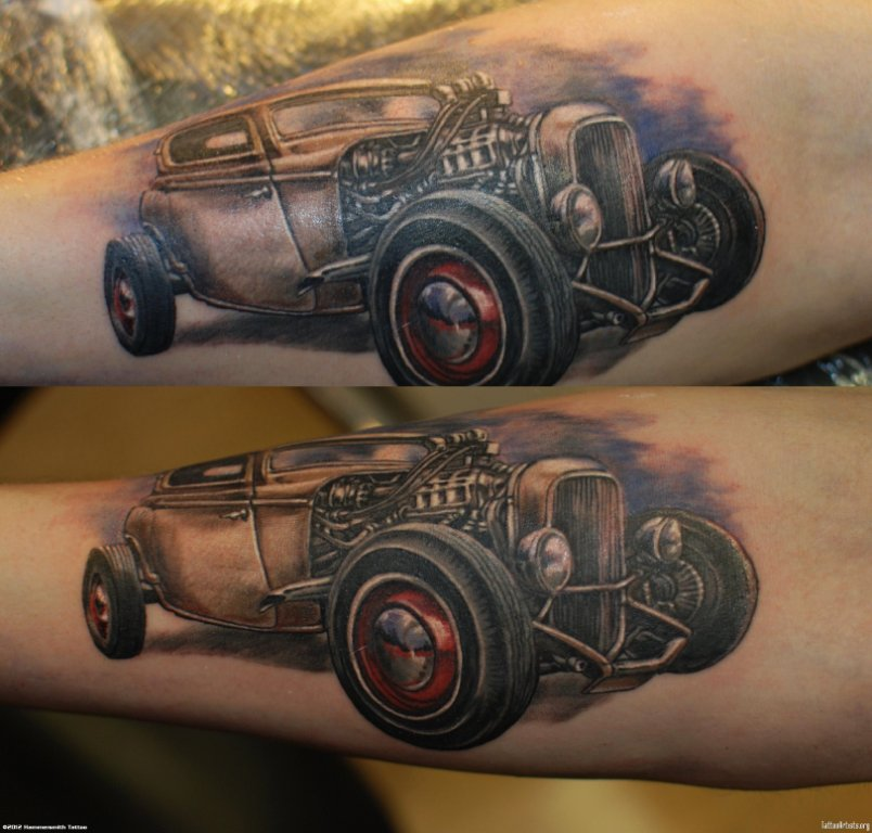 Real 3d Tattoo Of Old Vintage Cars On Sleeve