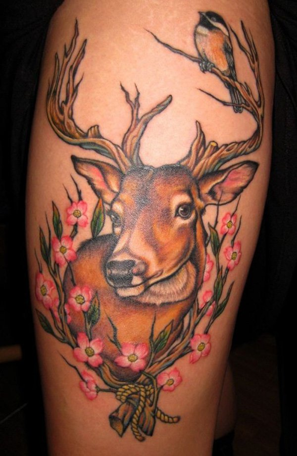 Real 3d Wild Deer And Pink Flower Tattoo On Calf