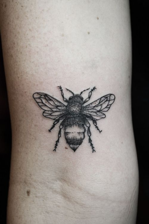 Realistic Dotted Bee Tattoo On Biceps