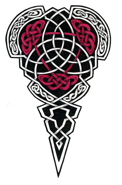 Red And Black Ink Celtic Tattoo Stencil Design
