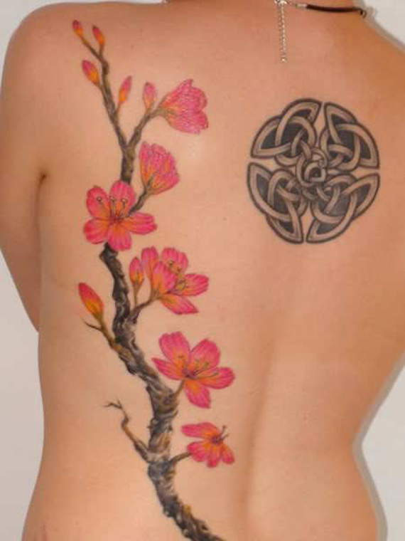 Red Ink Feminine And Celtic Knot Tattoo On Girl Back