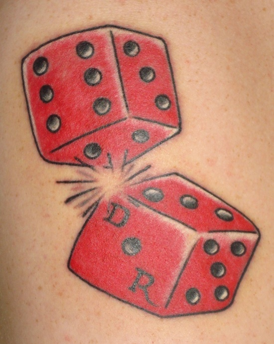 Red Ink Two Gambling Dice Tatoo Design