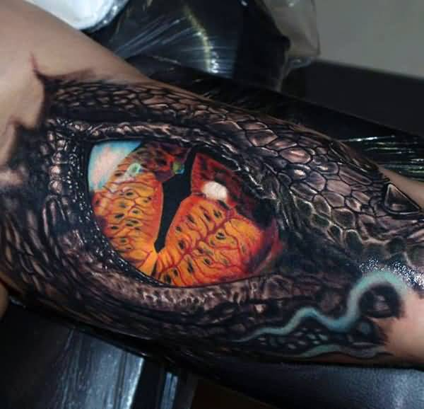 Sacry 3d Dragon Eye Tattoo On Men Biceps