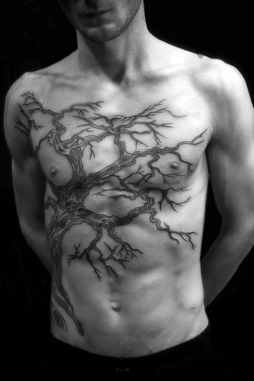 Scary Dry Tree Tattoo On Men Chest