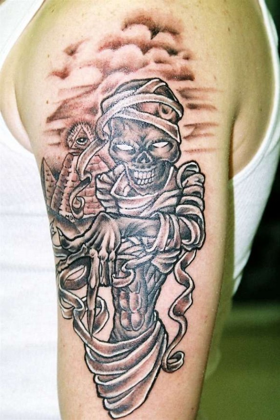 Scary Egyptian Mummy Tattoo On Men Shoulder