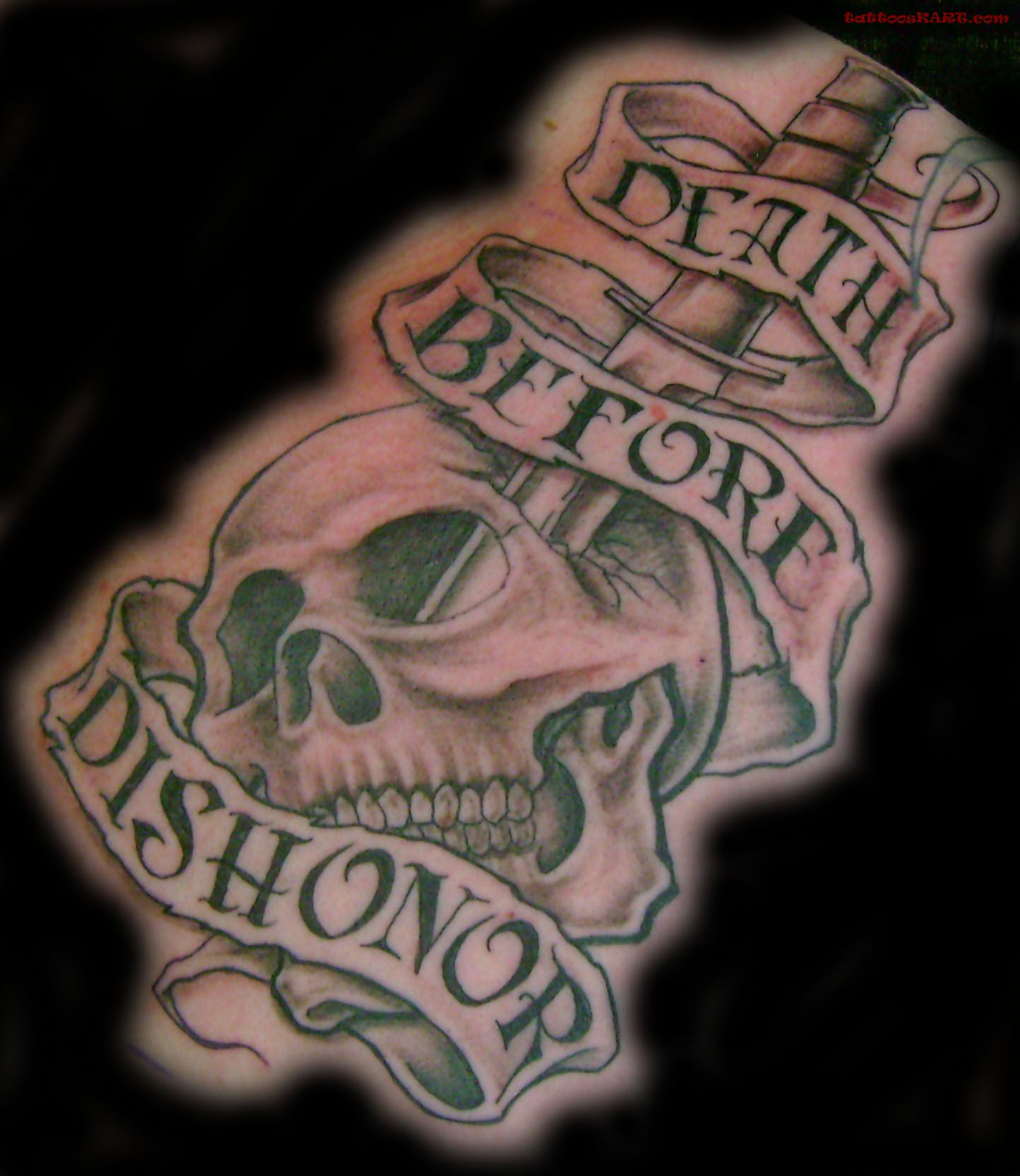 Scary Skull With Death Banner And Dagger Tattoo On Hand