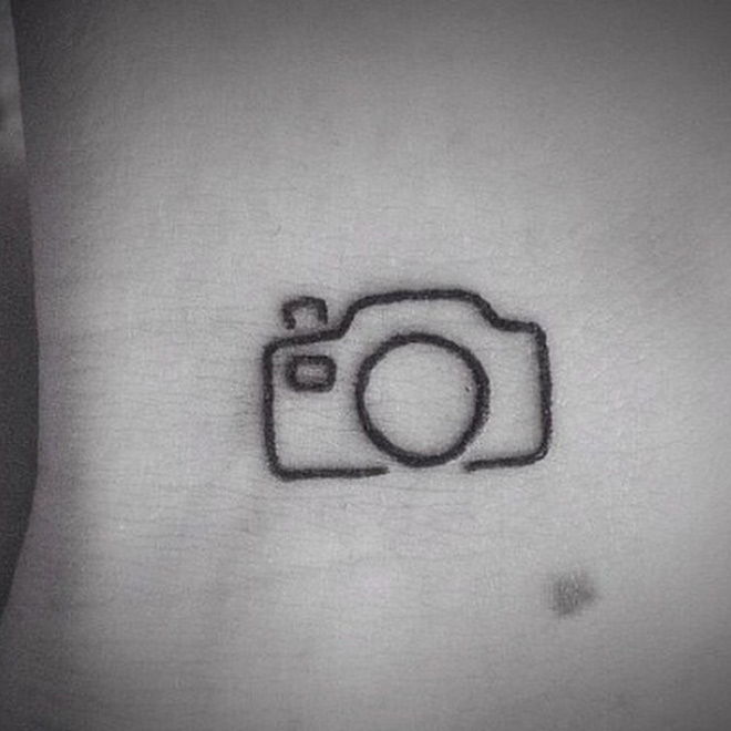 Simple And Perfect Camera Tattoo Outline On Ankle
