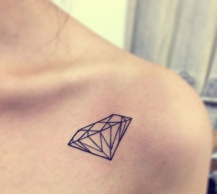 Simple Black Diamond Tattoo Outline On Girl Collarbone