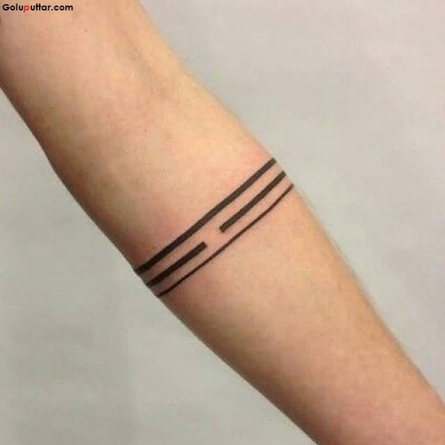 Simple Solid Armband Tattoo On Men Sleeve