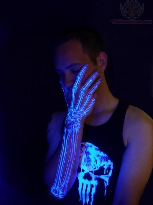 Skeleton Arm Black Light Tattoo Design For Men