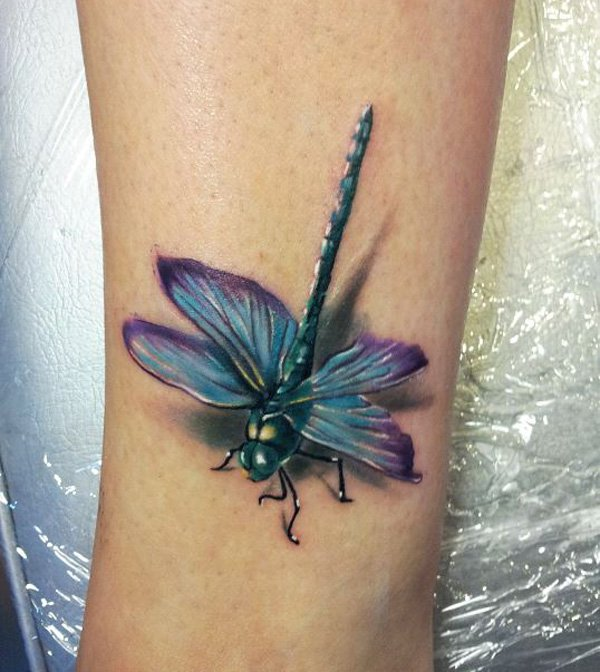 Small 3d Dragonfly Tattoo on Girl Leg