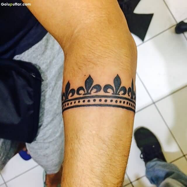 Traditional Black Ink Armband Tattoo For Men