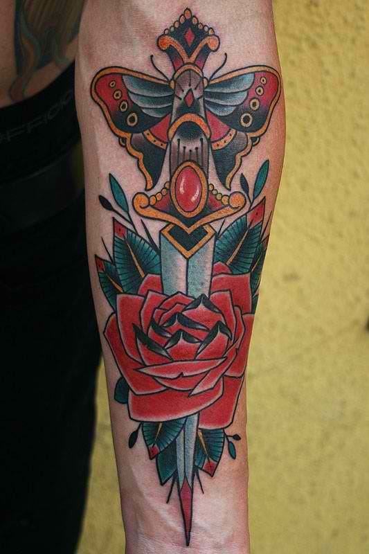 Traditional Dagger And Red Rose Tattoo On Lower Sleeve