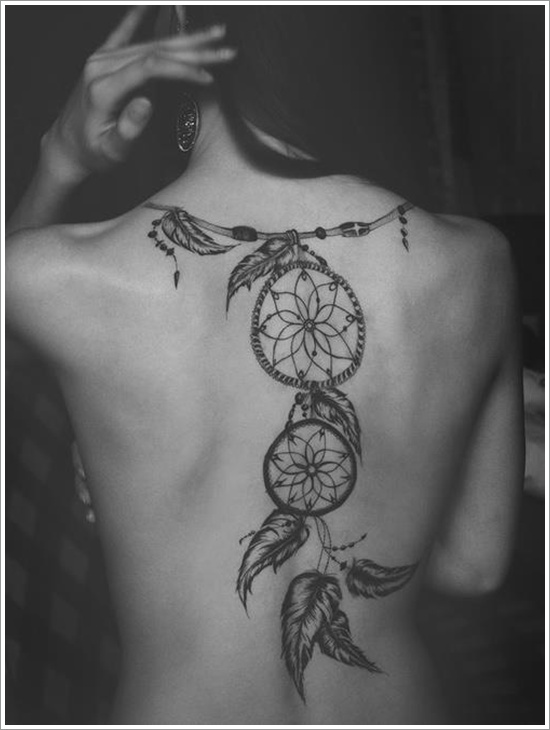 Traditional Dream Catcher Necklace Tattoo For Girl Back