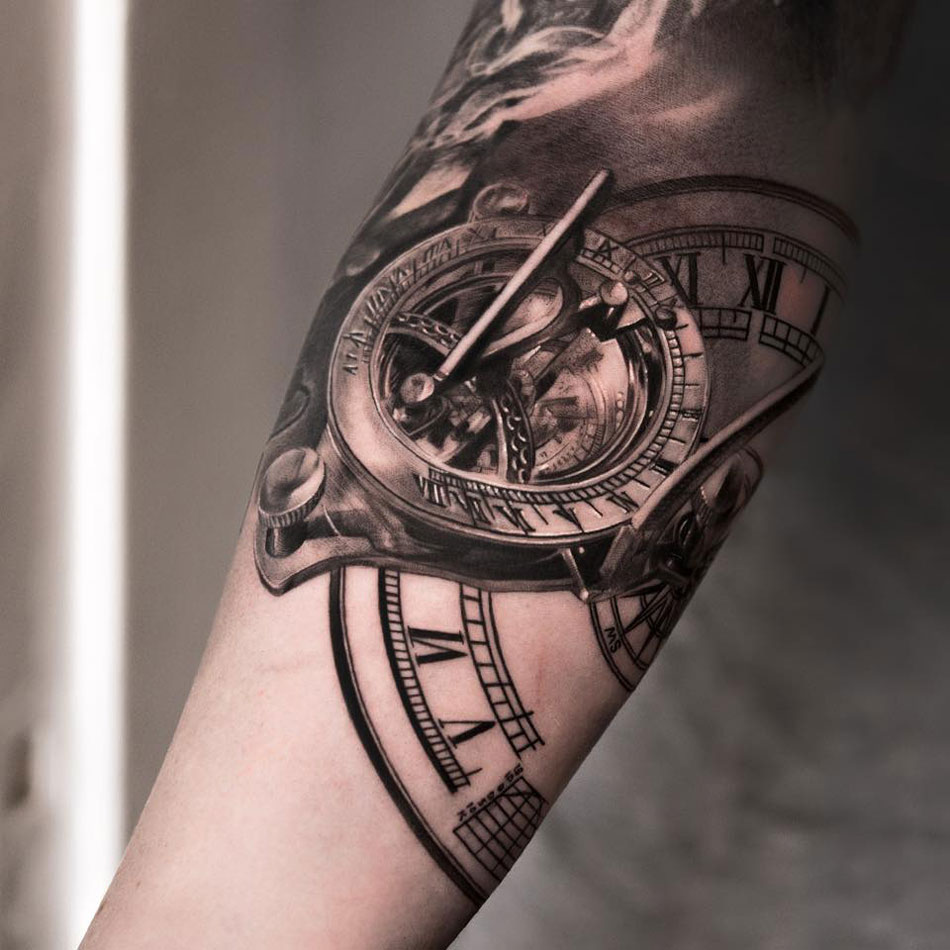 True 3d Vintage Clock Tattoo Made On Men Sleeve