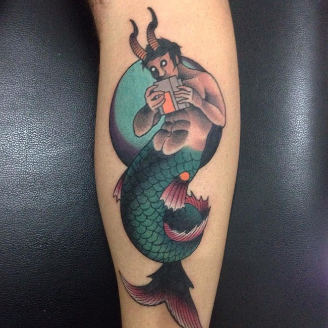 True Animated Capricorn And Mermaid Tattoo Design on Leg