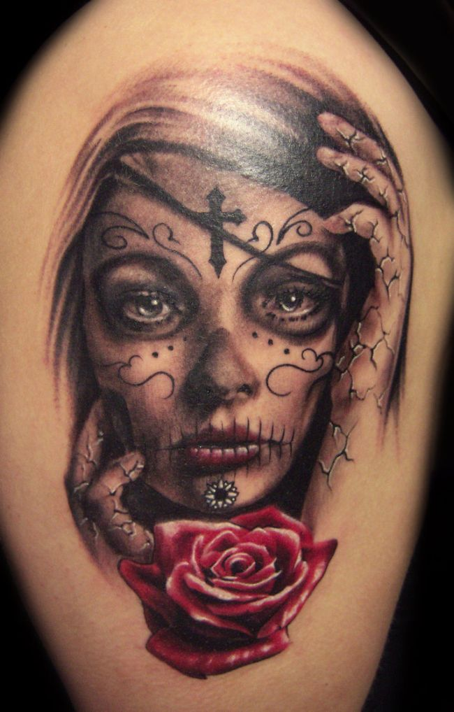 True Animated Dia De Los Muertos Red Rose And Cross Tattoo On Men Shoulder