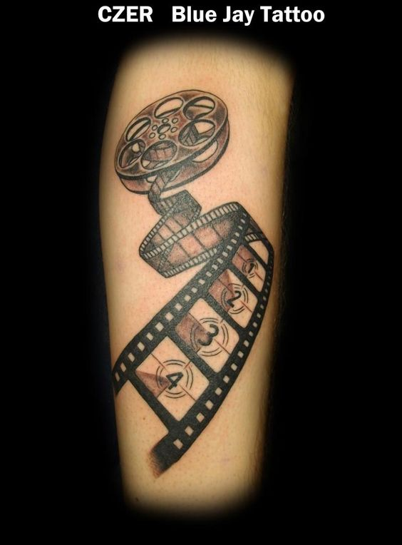 Vintage Cinema Movie Reel Tattoo On Men Sleeve