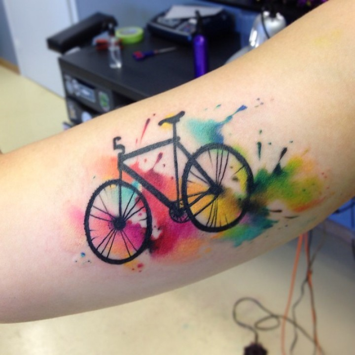 Watercolor Bike Tattoo Made On Men Sleeve