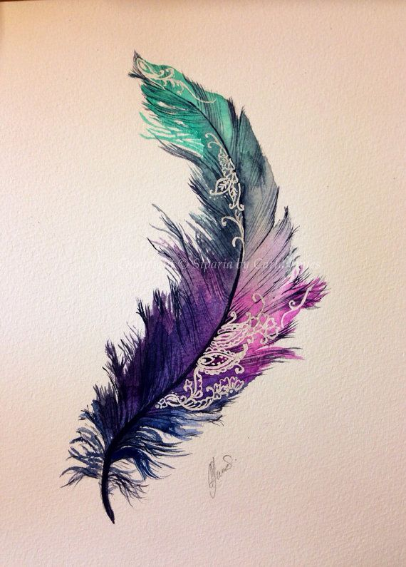 Watercolor Feather Tattoo Design On Paper