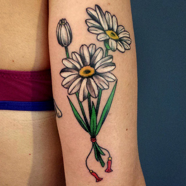 White And Green Ink Incredible Daisy Bouquet Tattoo On Back Sleeve