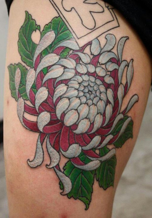 White And Red Chrysanthemum Flower Tattoo On Girl Thigh