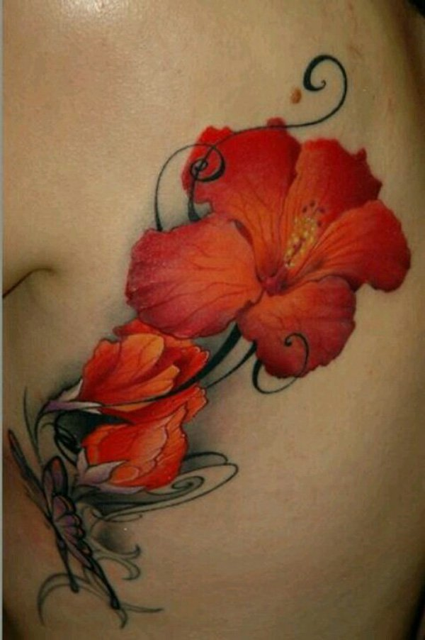 3d Red Hibiscus Tattoo For Girl Rib Side
