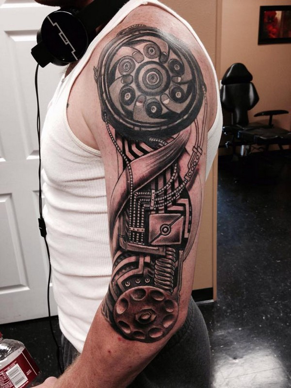 Amazing Mechanical Half Sleeve Engine Tattoo For Men
