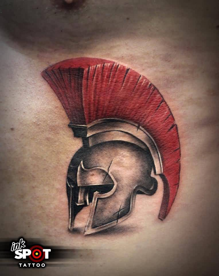Amazing Warrior Helmet Tattoo On Men Chest