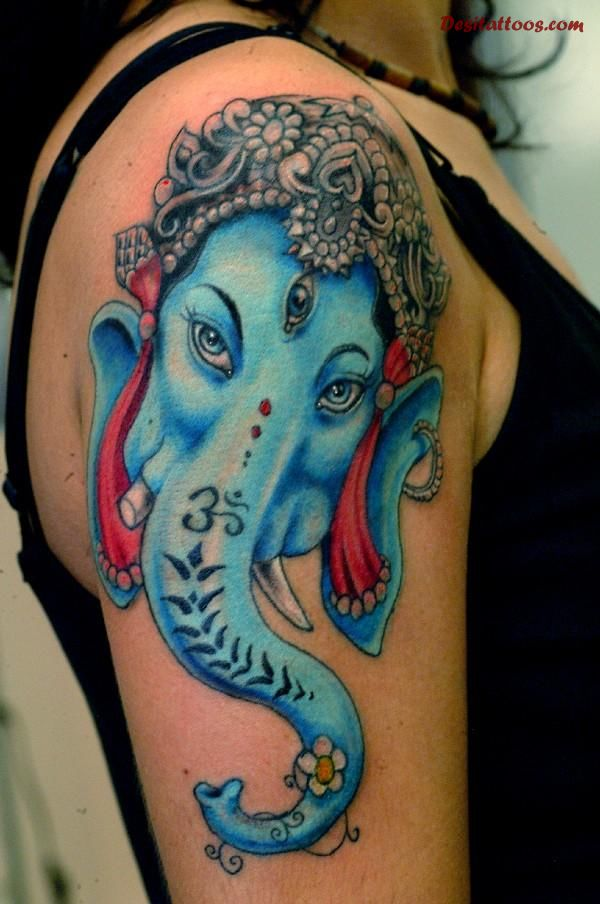 Aqua Ink Lovely Hinduism Ganesha Tattoo On Girl Shouldr