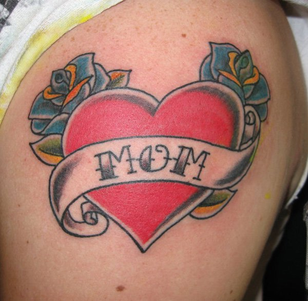 Attractive Red Heart With Banner Tattoo On Men Shoulder