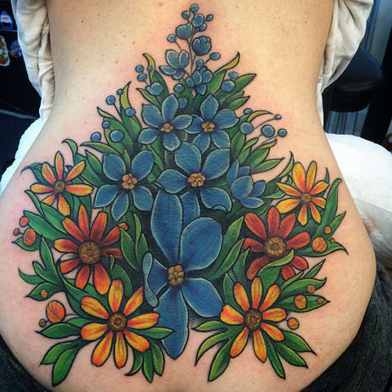 Beautiful Animated Flower Branch Tattoo On Girl Lower Back