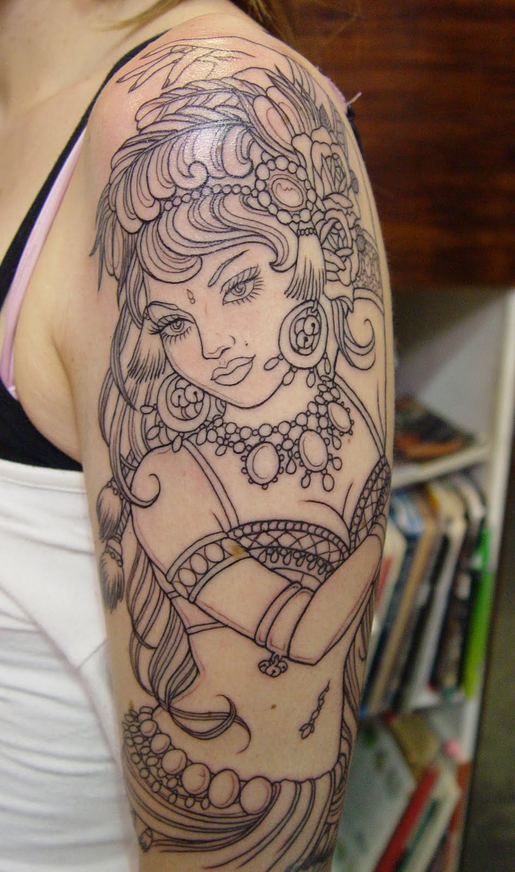 Beautiful Gypsy Girl Outline Tattoo On Women Sleeve