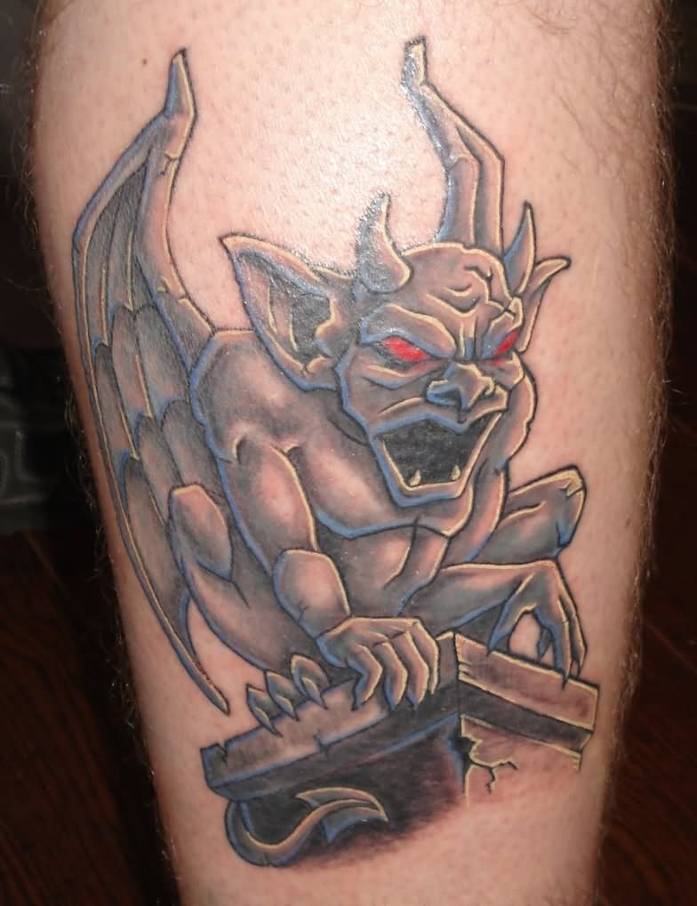 Best 3d Gargoyle With Red Eye Tattoo On Calf