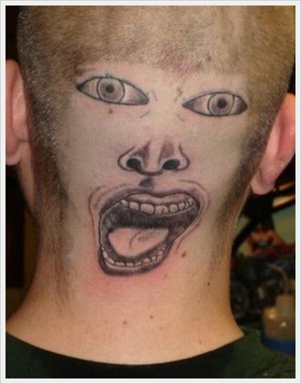 Best Funny Face Tattoo Made On Back Head