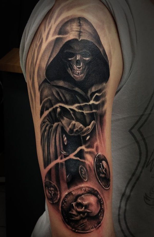 Black Ink Amazing Grim Reaper And Tree Tattoo On Men Shoulder