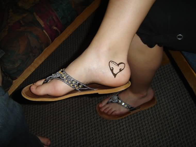 Black Ink Amazing  Heel Tattoo For Girl