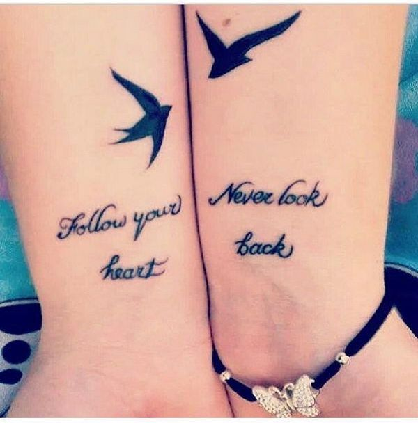 Black Ink Flying Swallow Bird Friendship Quote Tattoo On Wrist
