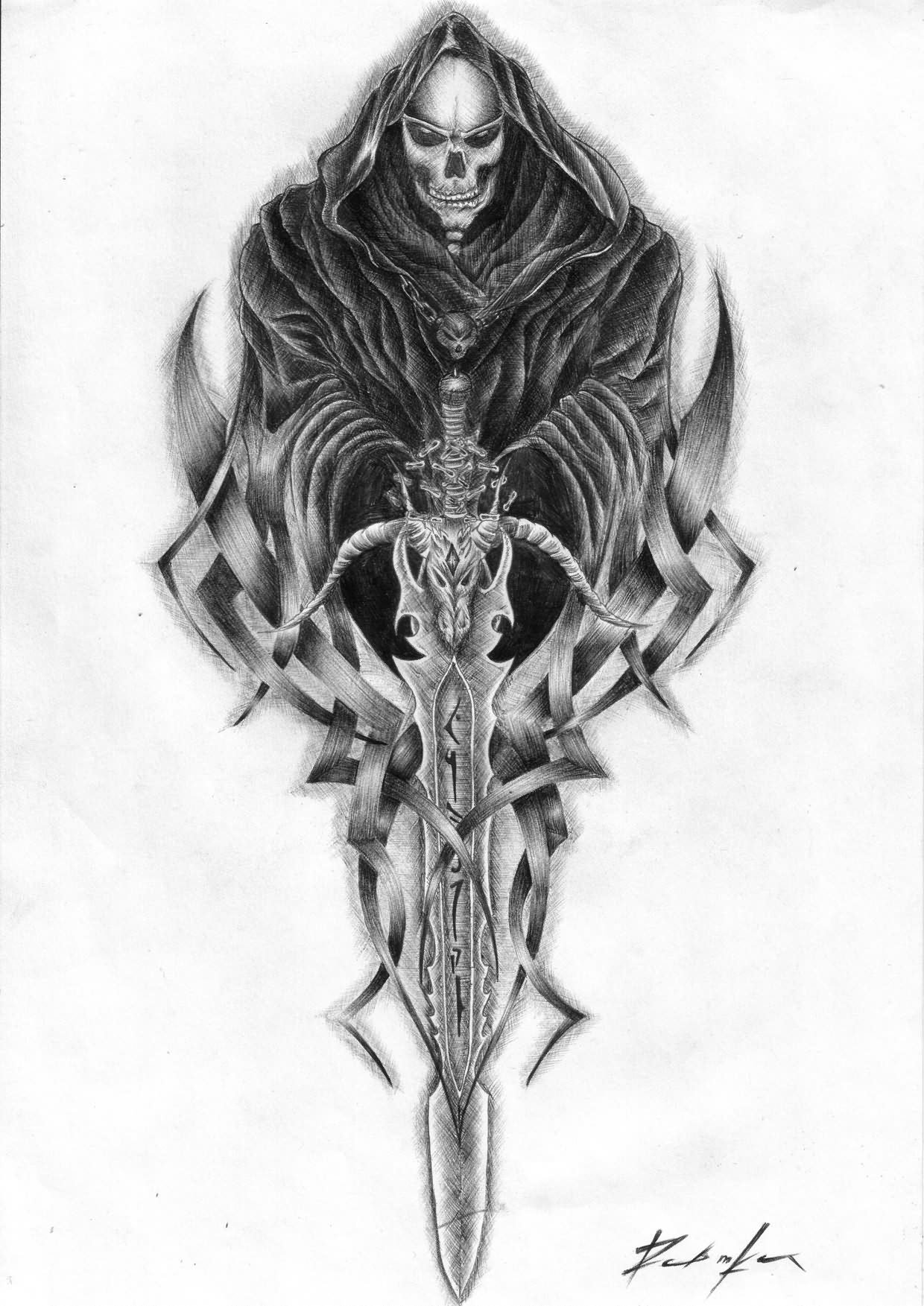 Black Ink Grim Reaper And Sword Tattoo On Paper