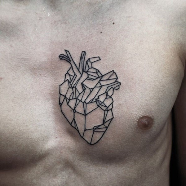 Black Ink Simple Heart Tattoo Outline On Men Chest
