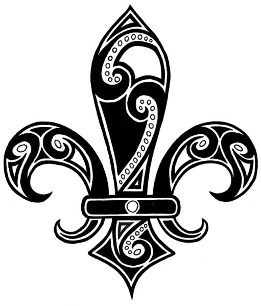Black Ink Tribal Fleur De Lis Tattoo Design Idea