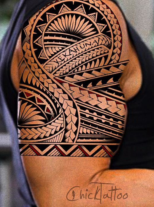 Black Ink Tribal Hawaiian Tattoo For Men Quarter Sleeve