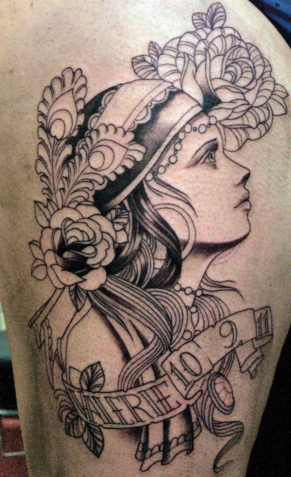 Brilliant Gypsy Girl Face Tattoo Outline Design
