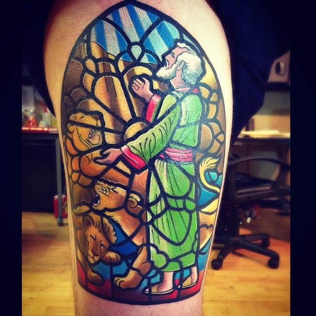 Colorful Glass Portrait Tattoo On Thigh