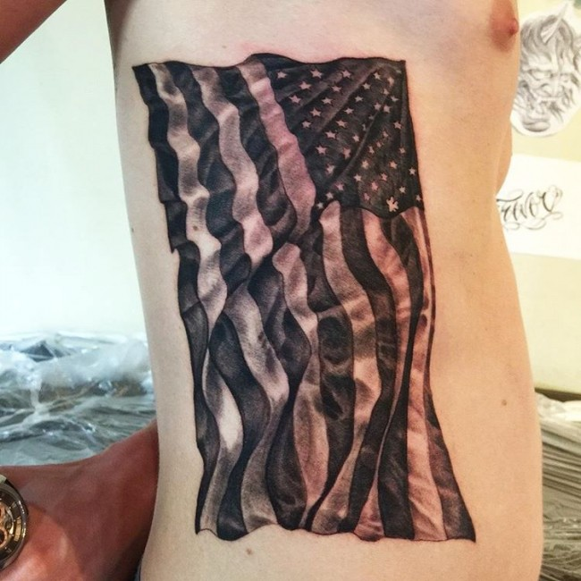 Cool 3d American Flag Tattoo On Men Ribs
