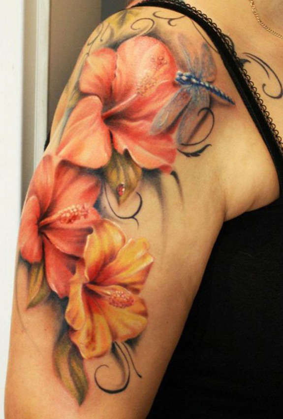 Cool 3d Hibiscus And Dragonfly Tattoo On Women Right Sleeve