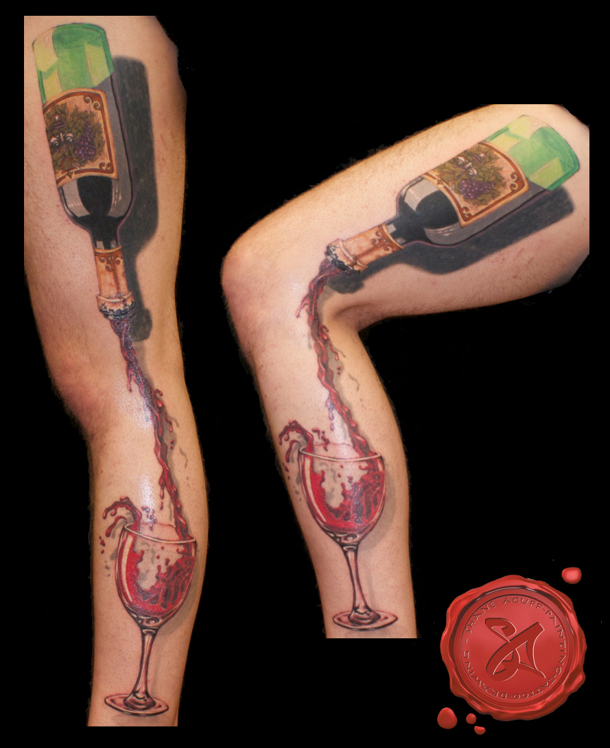 Cool 3d Red Wine Glass Tattoo For Leg Sleeve