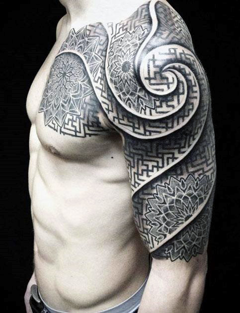 Cool 3d Tattoo Pattern For Men Half Sleeve