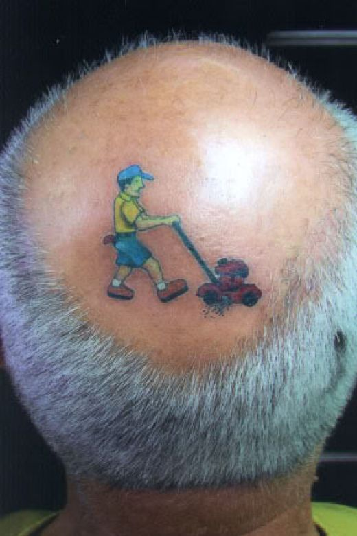 Cool Animated Funny Cartoon Tattoo On Old Men Head