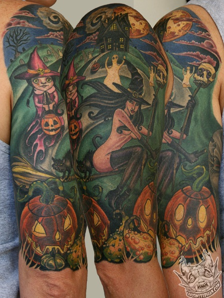 Cool Animated Halloween Witch And Pumpkin Tattoo Idea